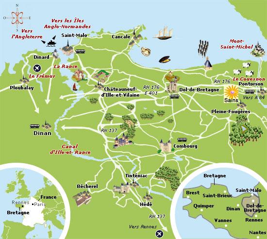 Carte Bretagne Cancale.Carte De La Region Bretagne